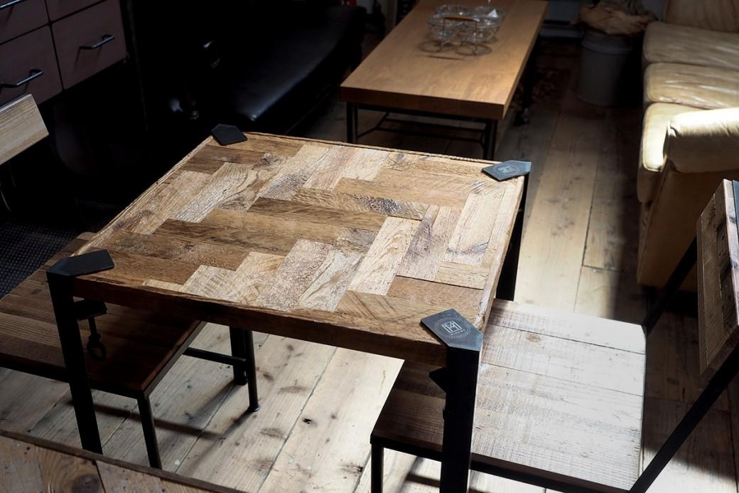 使用例:クランプ鉄脚やカフェテーブル用鉄脚、古材チェアーと相性バツグン!